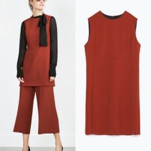 Zara Structured Burnt Dark Orange Sheath Dress
